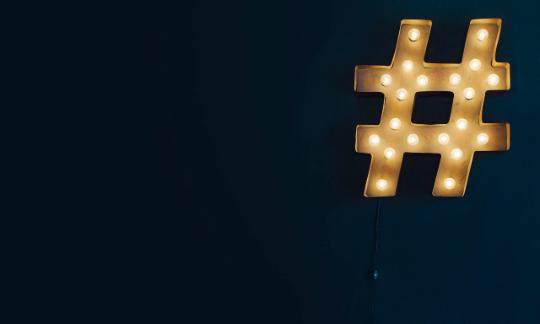 hashtag made out of light installation
