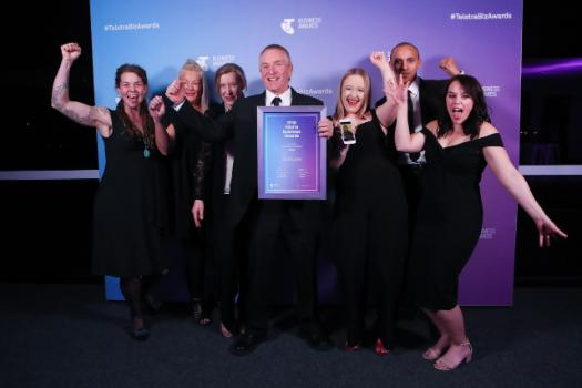 2018 Telstra Tasmanian Business of the Year, Scoot Boots, celebrates win.