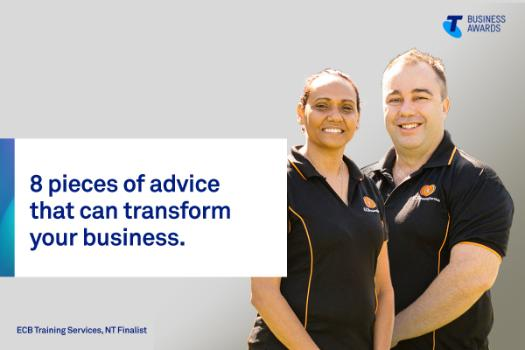 ECB Training Services founders, and 2019 Telstra Business Awards NT finalists, director Evelyn Clarke (left) and managing director Craig Bayley (right)