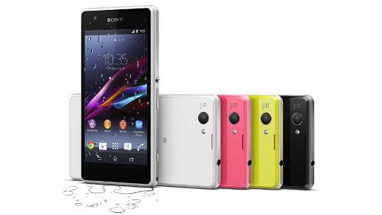 Sony Xperia in four colours, with front phone showing menu