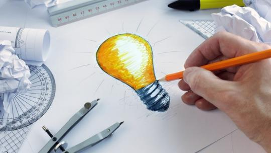 Drawing of lit up lightbulb