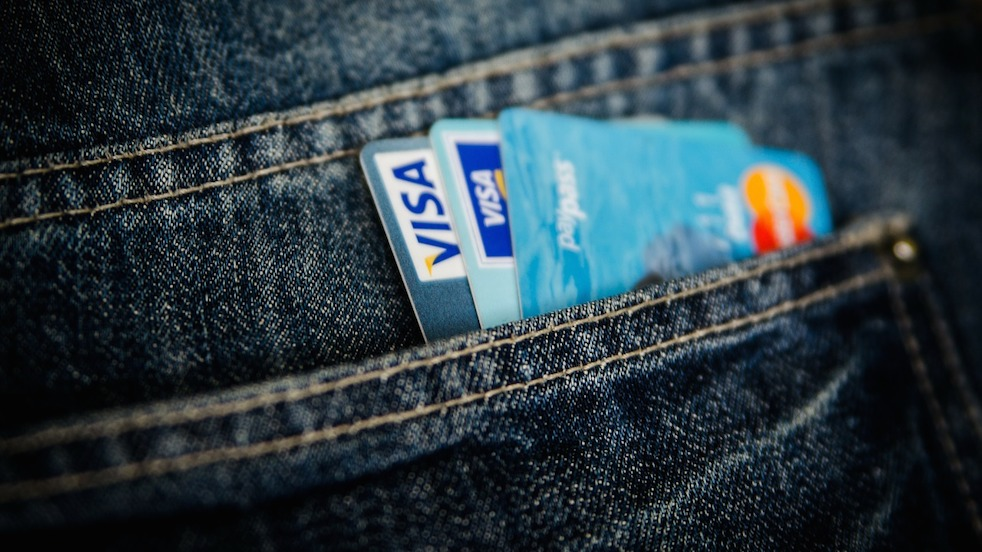 credit cards in jeans pocket