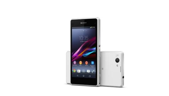 Sony Xperia Z1 Compact front facing, with white Z1 back facing on its side