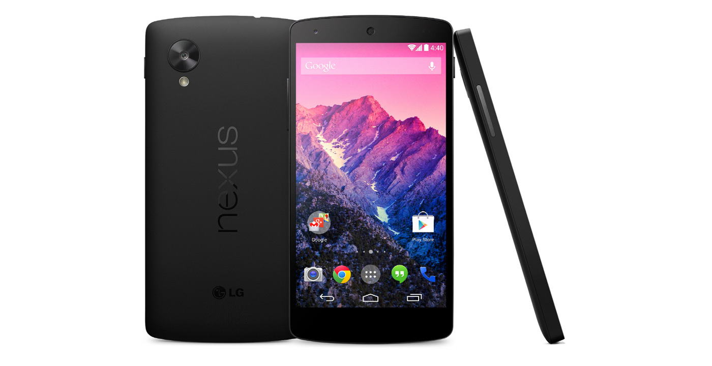 The Google Nexus 5 front, back and side view
