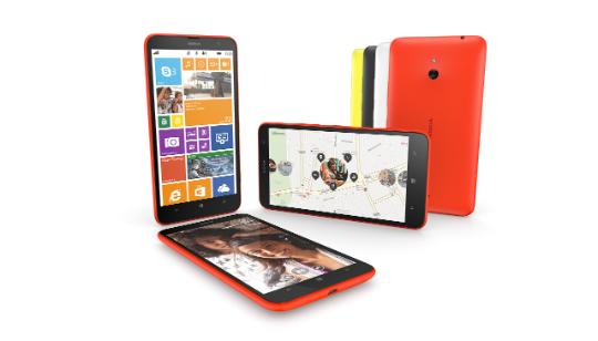 Seven Nokia Lumia 1320 smartphones with menu, photo and maps on screens