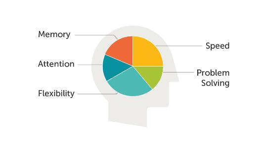 pie chart on head icon with memory, attention, flexibility, speed and problem solving coming off the icon