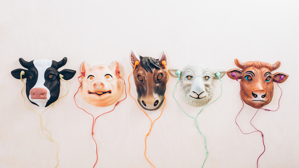 animal masks with headphones