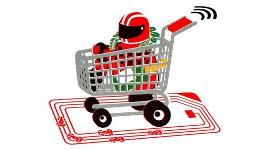 cartoon of F1 driver in shopping cart