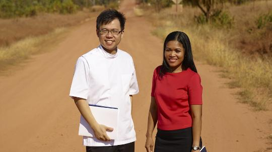 Boon Wai Lim and wife on desert road