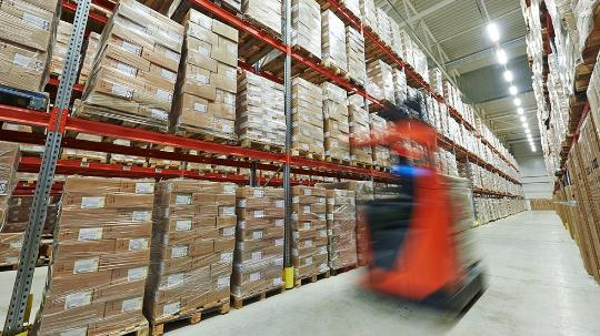 Warehouse depot with packaged up items