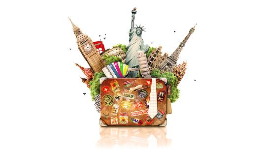 Suitcase Holiday London New York Moscow Rome