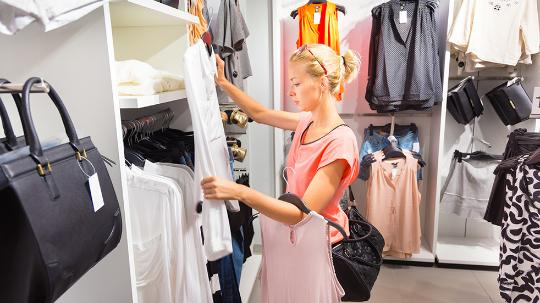 Shop Woman shopping Fashion store