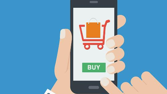 illustration of mobile phone with shopping cart displayed
