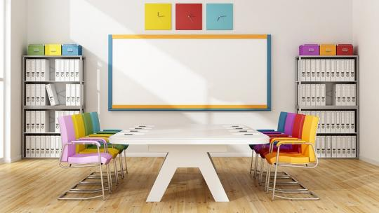 Colourful board room