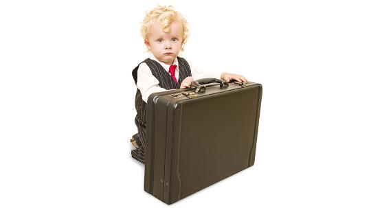 Baby with briefcase