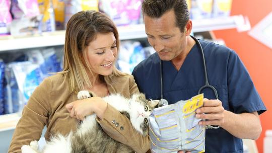 woman holding cat whilst being advised on food by veterinarian
