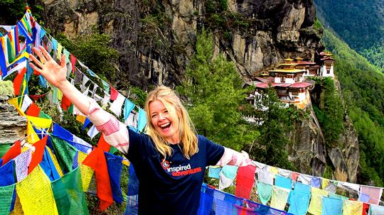 Justine Curtis in front of the Paro Taktsang Monastery in Bhutan