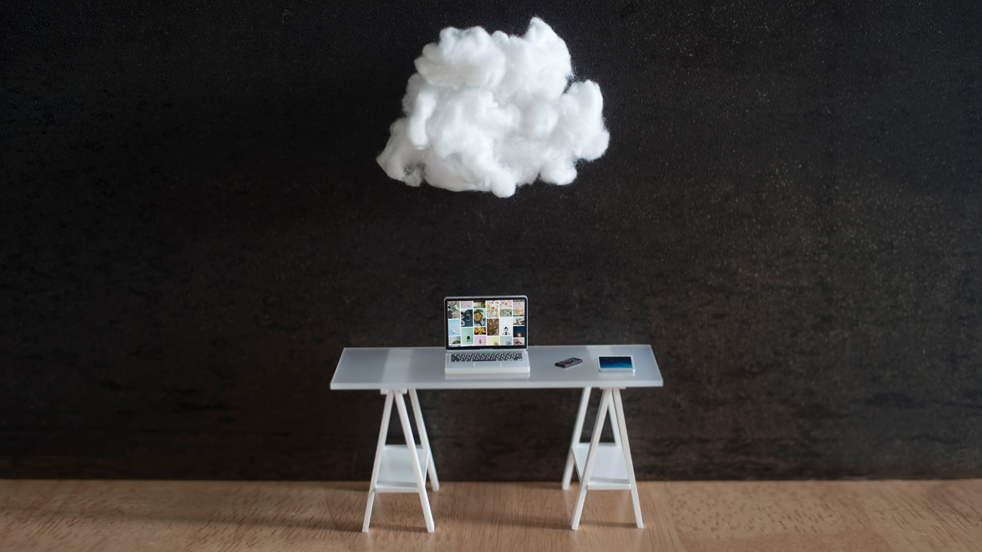 Cloud floating over an work desk