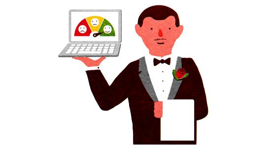 Butler holding computer with emoticons on screen