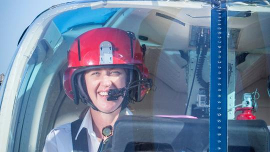 Captain Jan Becker flying a helicopter