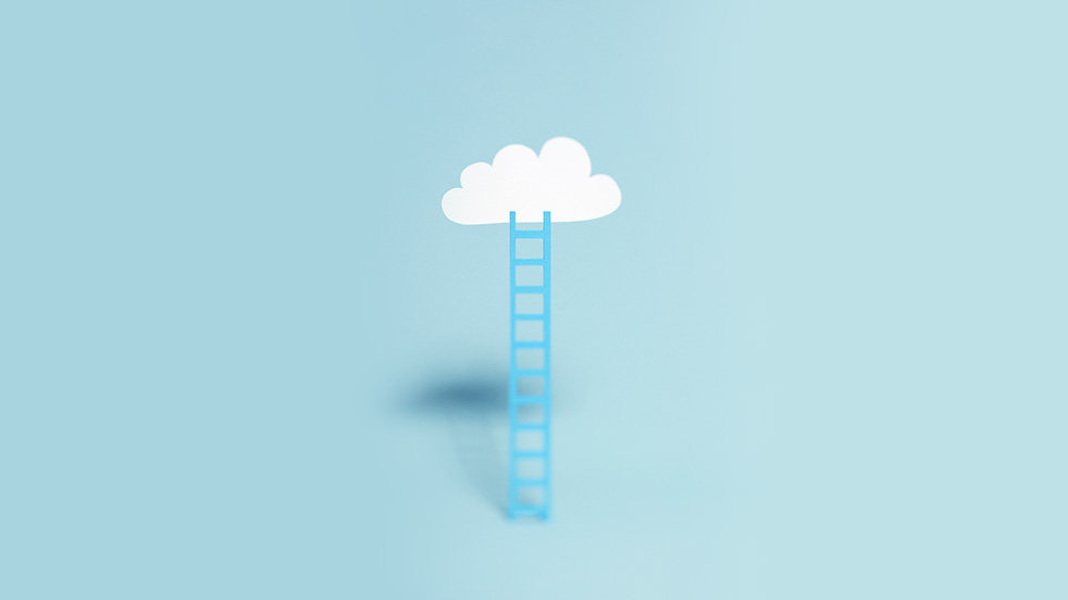 A ladder leads to a cloud