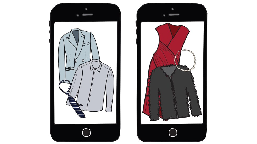 Two smartphones with illustrations of clothing