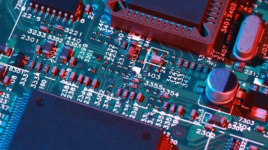 A close up image of a computer motherboard