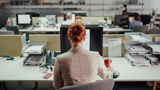 A photo of a woman from behind working at an office desk