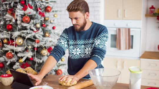 Man cooking at Christmas