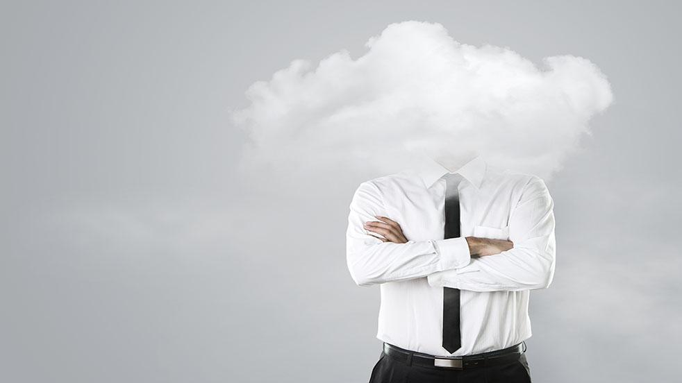 Man with his head in a cloud