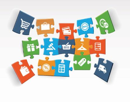 jigsaw puzzle pieces of ecommercre components