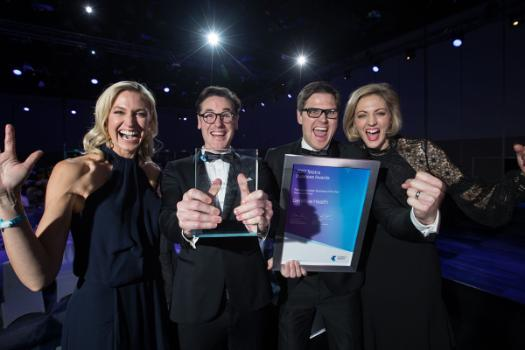 Dr Troye Wallett and Dr Sebastian Rees of GenWise Health holding their award at the 2017 Telstra National Business Awards