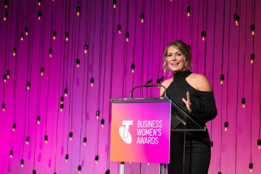 Image shows Tammy Barton at the 2017 Telstra South Australian Business Woman of the Year Awards.