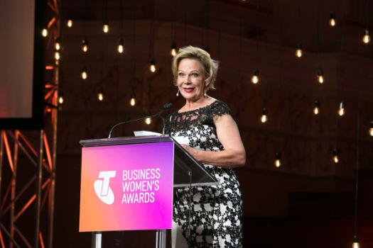 Bernadette Eriksen at the podium of the 2017 Queensland Telstra Business Women's Awards.