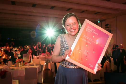 Elise Apolloni with her 2017 Telstra  Australian Capital Territory Business Woman of the Year Award.