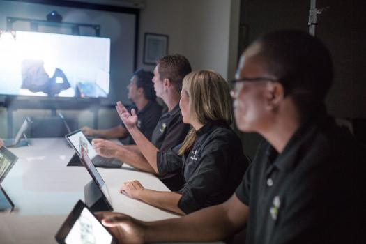 A group on a video conference.