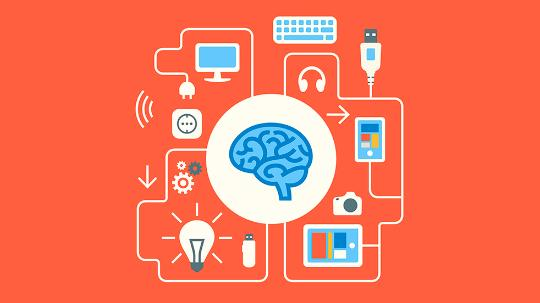 illustration of brain with technology devices around it