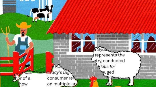 illustration of farmer and farm animals