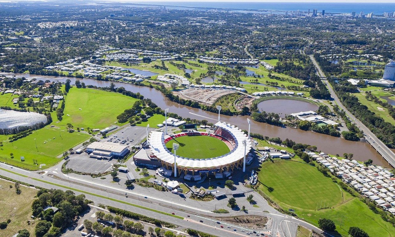 ariel view of AFL ground next to river