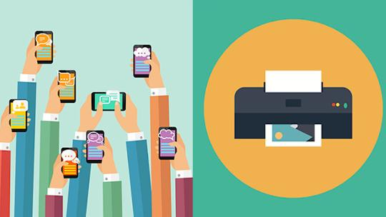 Illustration of hands holding smart phones and tablets alongside a printer