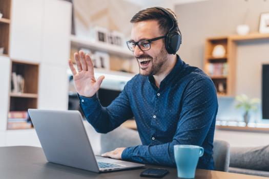 Man smiling working from home