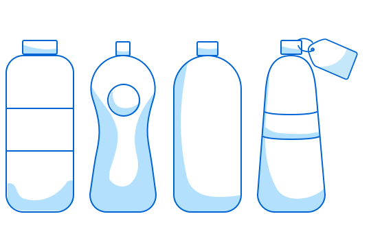 Four water bottles in slightly different shapes